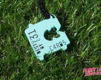 Mint Bread Tag, Bread Clip, Acrylic Laser Cut Necklace for The Discerning Carb Lover, Carb Loading, Food, Bakery