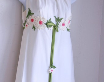 Vintage white bridesmaids wedding dress boho flower girl maxi size small