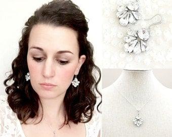 Bridal Jewelry Set , Wedding Rhinestone Jewellery Set , Swarovski jewelry set , pendant necklace and earrings , bridal jewellery couture