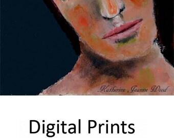 Emotional Woman Portrait Painting Print. Dark Wistful Female Wall Art Prints. Home Wall Apartment Decor