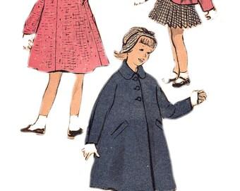 Child's Coat Pattern 1950s Children's Coat Jacket Unprinted Long Short Coat Advance Vintage Sewing Girl's Size 4