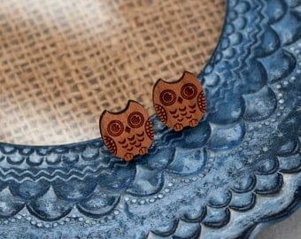 Owl Earrings, Wooden Bird Stud Earrings