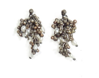 Silver Earrings with Pearl Cluster