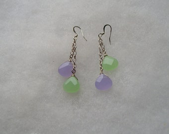 Lovely Purple Green Chalcedony Drop Dangle Earrings