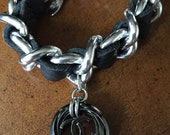New Leather and Chain Bracelet with Vintage Chanel Button
