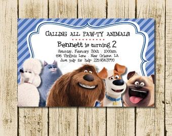 Secret Life of Pets Invitations, Secret Life of Pets Birthday, Digital Invite, PDF & JPEG included