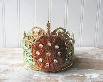 Santos crown antique vintage style decor crown handmade tiara doll size decor crown mixed media faux rust and verdigris rhinestone