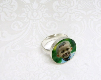 Custom Sterling Silver Photo Tile Ring