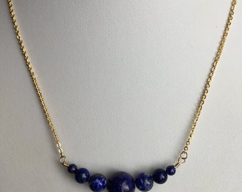 Lapis lazuli necklace, lapis necklace, stone necklace, blue stone necklace, boho necklace,