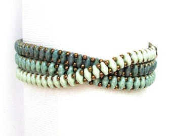 jade beaded wrap bracelet,superduo, handmade bracelet, ombre bracelet, green bracelet, boho bracelet, seed bead bracelet, christmas