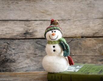 Needle Felt Snowman - Needle Felted Snowman - Christmas Snowman - Christmas Decoration - Christmas Decor -  Wool Snowman - Winter Décor -787