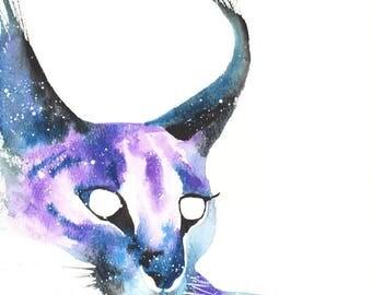 Caracal Cat ORIGINAL Watercolor, Galaxy Spirit Totem Animal 9X12