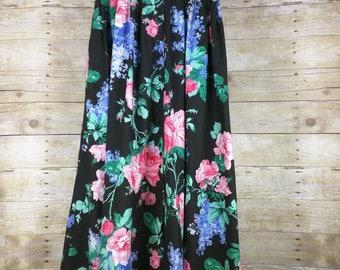 Vintage Black Floral Print Midi Skirt Misses M 80s