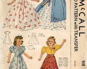 1940s McCall 918 Vintage Sewing Pattern Doll's Outfits, Doll Wardrobe Little Lady Doll Clothes, 15 Inch Doll Clothes