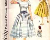 1950s Simplicity 2492 Vintage Sewing Pattern Misses Party Dress, Full Skirt Dress, One Piece Dress Size 12 Bust 32