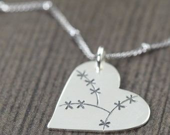 gifts for her Heart Necklace hand cut sterling silver heart Stitched heart healed heart