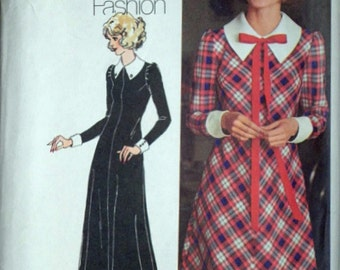 Misses' Bias-Dress in Two Lengths, Vintage 70's Simplicity 5130 Sewing Pattern, Retro 1970's Fashion, Size 16, 38 Bust, Uncut