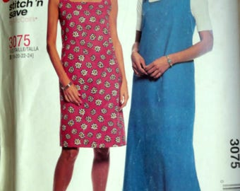 Easy McCall's 3075 Sewing Pattern, Dress Or Jumper in Two Lengths, Size 18-20-22-24, Bust 40-42-44-46, Uncut FF, Plus Sizes