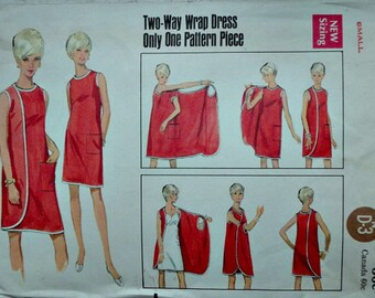 Vintage 60's Butterick 4699 Sewing Pattern, Two Way Wrap Dress, Size Small, Bust 31 1/2 - 32 1/2, Retro/Mod 1960's Fashion