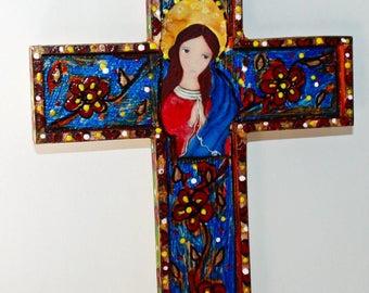Mary Untier of Knots -  Wall Cross Mixed Media Art by FLOR LARIOS