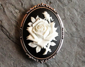White rose flower cameo brooch, black and white cameo brooch, antique silver brooch, cameo jewelry, holiday gift ideas, gift ideas for mom