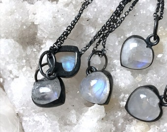 3 DAY SALE Rainbow Moonstone necklace, Heart necklace, rainbow moonstone jewelry, Moonstone Heart pendant necklace, Dainty heart necklace