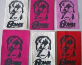 Hand Printed David Bowie Punk Patches with Lettering Seven Colors Available Aladin Sane