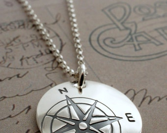 Graduation Gifts - Compass Necklace - Compass Rose Pendant in Sterling Silver - Custom Design by Eclectic Wendy Designs - Inspirational Gift