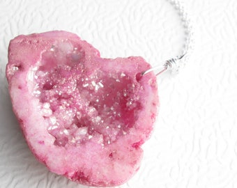 Large Pink Druzy Pendant, Agate Geode Necklace, Drusy Quartz Jewelry