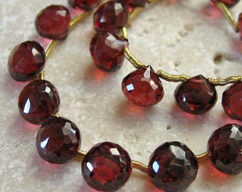 Red Garnet Gemstone Faceted Onion Briolettes 5.5 to 7mm - 13 beads