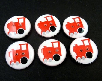 """6 Red Train Buttons.  Sewing Buttons Handmade by Me.   3/4"""" or 20 mm Round.  Washer and Dryer Safe."""