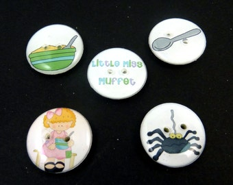 "5 Little Miss Muffet Buttons.  Children's Nursery Rhyme Decorative Craft or Novelty Buttons buttons. 3/4"" or 20 mm. Washer and Dryer Safe."