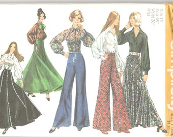 Simplicity 5310 1970s Misses Evening Maxi Skirt Bell Bottom Pants Blouse Pattern Womens Vintage Sewing Pattern Size 16 Bust 38 UNCUT