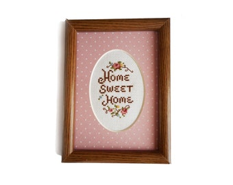 """Vintage Home Sweet Home Framed Picture Cross Stitch Love Hearts Pink Flowers Wall Decor Shabby Cottage 5"""" Hand Embroidered Finished"""