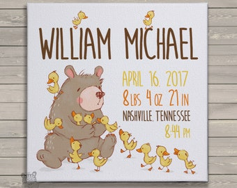 Baby statistics print - CANVAS print birth statistics - rustic bear and ducklings - FBP-002-A