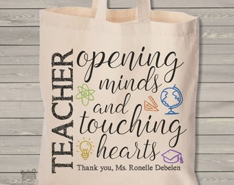teacher tote bag - opening minds touching hearts teacher gift MSCL-026