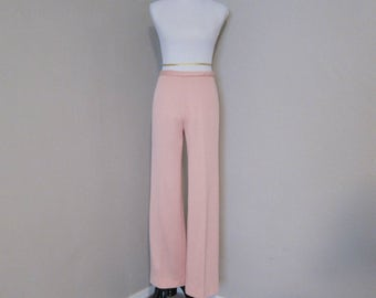 Vintage Polyester Pants, Late 60s/Early 70s Sz 14 Peachy Pink Pants by Dorce for I. Magnin & Co., Wide Leg Pull On Pants for Costume, Party
