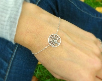 Family Tree Bracelet, sterling silver tree of life, mothers bracelet, adjustable, mothers day gift, strength, tree of wisdom, spiritual