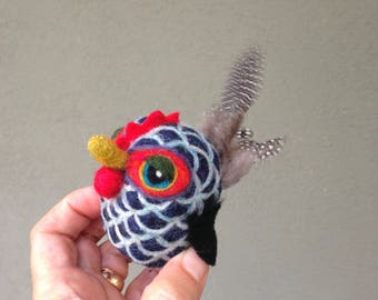 Needle Felted Wool Barred Rock Chicken Toy Shelf Sitter