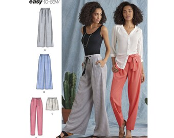 Misses' Great Summer Wide Leg & tapered Pants, Shorts and Tie Belt, Simplicity 8389 Sewing Pattern Vacation clothing, Sizes: 6 -14 or 14 -22