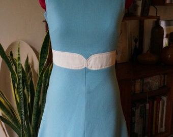 vintage 60s blue white color block dress sleeveless a line mod twiggy 1960s