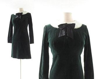 60s Vintage Dress   Green Velvet Dress   1960s Dress   Small S