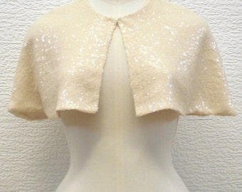 Blush Sequin Bridal Capelet