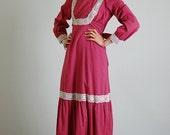 Gunne Sax Maxi Dress Vintage 70s Dark Red Pin Dot Black Label GUNNE SAX Maxi Dress (m l)