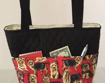 Yorkie Bag Quilted with Magnetic Snap, Yorkie Handbag, Yorkie Tote, Outside Pockets, Inside Pockets