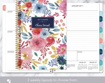2017 planner 12 month calendar | add monthly tabs weekly student planner | personalized planner agenda | pink blue white watercolor floral