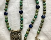 African Turquoise Necklace, Lapis Necklace, Old India Silver Talisman, Talisman, Ethnic Jewelry