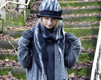 Unique Felt Hat, Handmade Felt hats, Felted hats, millinery, Black and white hat, felt Hat, felt Cloche, nuno felted scarf