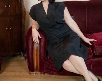 1950s Vintage Dress - Classic Black Faille 50s Dress with Pleat Tucked Surplice Bodice