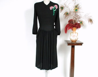 Vintage 1940s Dress - Fabulous Draped Black Rayon 40s Cocktail Dress with Beaded Pink Flower and Pockets